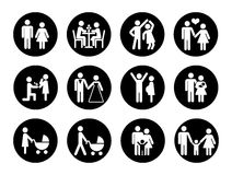 Family vector icons set in black and white. Love family, male and female with child illustration Royalty Free Stock Image
