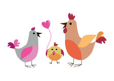 Family. Vector illustration background or post card with family of hens Royalty Free Stock Photos