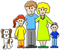 Family. Vector illustration of a family consisting of father, mother, daughter, son and dog royalty free illustration
