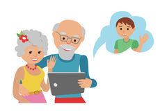 Family vector illustration flat style people faces online social media communications. Man woman parents grandparents with tablet Royalty Free Stock Images
