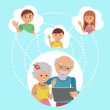 Family vector illustration flat style people faces online social Stock Photography