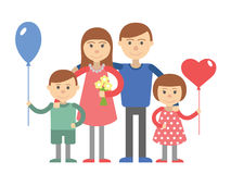 Family vector illustration flat style people mother father son and daughter  Royalty Free Stock Image