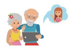 Family vector illustration flat style people online social media communications. Man woman senior couple grandparents make video c Royalty Free Stock Photos