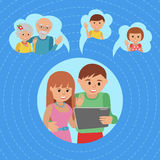 Family vector illustration flat style social media communications. Man woman couple parents make video call with tablet. Royalty Free Stock Image