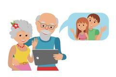 Family vector illustration flat style social media communications. Man woman senior couple grandparents make video call Stock Photography