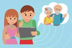 Family vector illustration flat style social media communications. Royalty Free Stock Image
