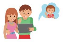 Family vector illustration flat style social media communications Stock Photo