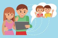 Family vector illustration flat style social media communications.  Stock Photography