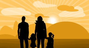 Family. Vector illustration with sunset clouds and family Stock Photography