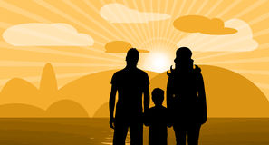 Family. Vector illustration with sunset clouds and family Royalty Free Stock Image