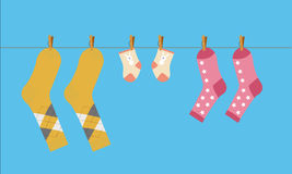 Family. Vector Illustration On The Theme Of Family And Home. Socks For Mom, Dad And The Baby Washed And Dried On A Rope Royalty Free Stock Photo