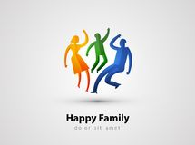 Family vector logo design template. parents or. Abstraction. happy family on a gray background. vector illustration Stock Photography