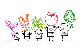 Family & vegetables vector illustration