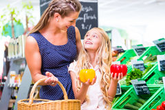 Family vegetables grocery shopping in corner shop. Mother and daughter selecting vegetables while grocery shopping in organic supermarket royalty free stock image
