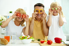 Family of vegetarians Stock Photos