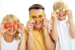 Family of vegetarians Royalty Free Stock Image
