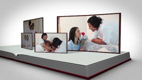 Family videos on a book against a white background