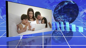 Family videos next to statistics and turning globe Stock Photo