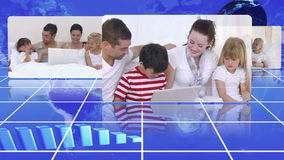 Family videos spinning in circle Stock Images