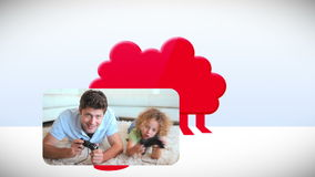 Family videos using multimedia devices. Animation of a family videos using multimedia devices stock video footage