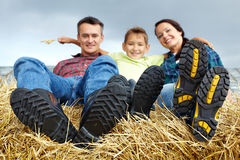 Family in the village Stock Photography