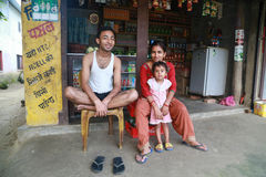 The family in the village of the original Tanu family in  Nepal Royalty Free Stock Images