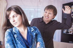 Family Violence Concepts. Man and Woman Arguing Emotionally Together. Stock Photo