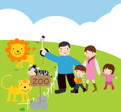 Family visit to zoo. Illustration art Royalty Free Stock Photos