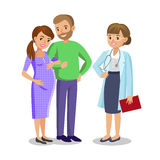 Family visiting doctor in clinic, expectant parents, pregnancy Royalty Free Stock Photos