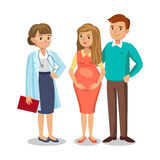 Family visiting doctor in clinic, expectant parents, pregnancy vector illustration