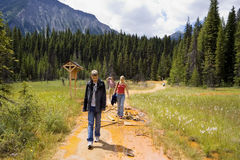 Family visiting the paint pots. Located in the kootenay national park, BC, canada - adobe RGB royalty free stock images