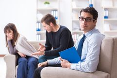 The family visiting psychologist for family problem. Family visiting psychologist for family problem Stock Photo