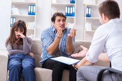 The family visiting psychologist for family problem Stock Photo