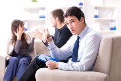 The family visiting psychologist for family problem Stock Photos