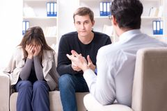 The family visiting psychologist for family problem. Family visiting psychologist for family problem Stock Images