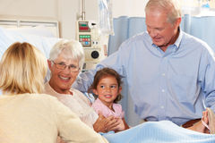 Family Visiting Senior Female Patient In Hospital Bed Royalty Free Stock Photo