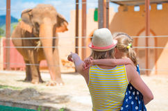 Family visiting zoo. Woman and her daughter visiting zoo Royalty Free Stock Photos