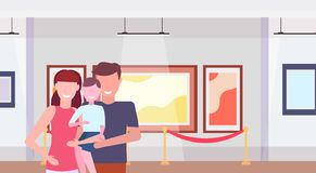 Family visitors in modern art gallery museum interior parents with little son looking contemporary paintings artworks or stock photography