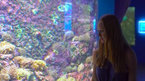 Family visits an oceanarium. Steadycam shot of a woman walking by a big a aquarium with a tropical fishes.  stock footage