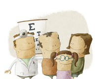 Family visits oculist doctor Royalty Free Stock Photo