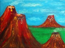Family of volcanoes. On the green field. Under the blue sky. Four brown volcanoes. Mom, Dad and two children. Volcanoes with faces. Allegorical picture Stock Images