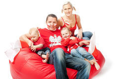 Family waiting football match of euro cup Royalty Free Stock Photography