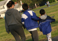Family Walk. Family waljking for exercise royalty free stock photo