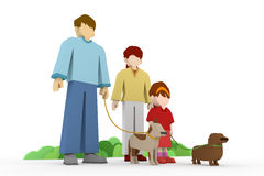 Family Walk. Have a good time with my family. A walk in the park. Exercise in dogs. To exercise their pets.Member of the family pet Stock Photos