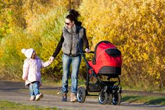 Family on walk Stock Photo