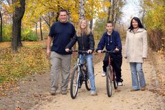 Family - Walk. Family on the autumn walk Royalty Free Stock Photography