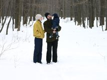 Family on walk. Father, mother, son - family on walk royalty free stock images