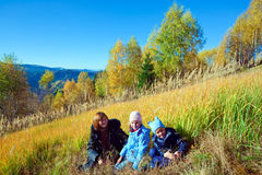 Family walk on autumn  mountain Nimchich pass Royalty Free Stock Photo