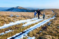 Family walk on autumn  mountain plateau Royalty Free Stock Image