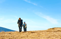 Family walk on autumn  mountain plateau Stock Photography